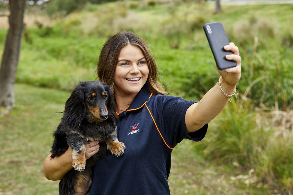 pet handler with dog